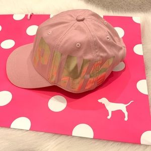 NWT Pink by VS baseball cap with gold logo